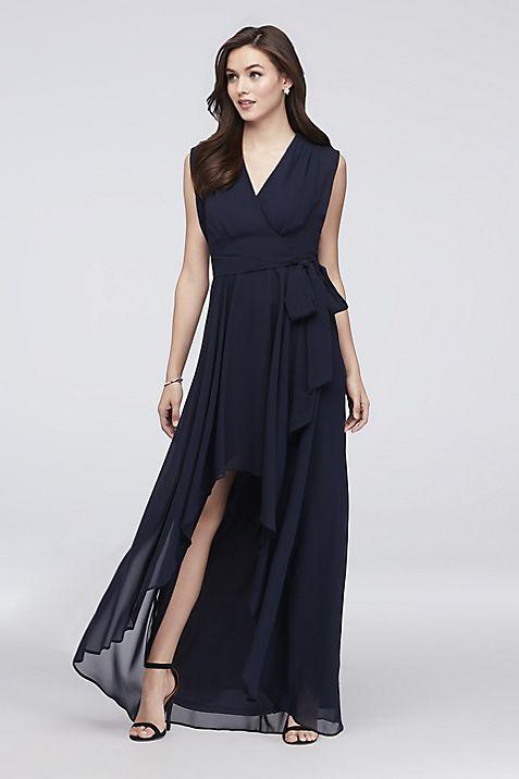 Faux-Wrap Cap Sleeve Chiffon Bridesmaid Dress   David\'s Bridal