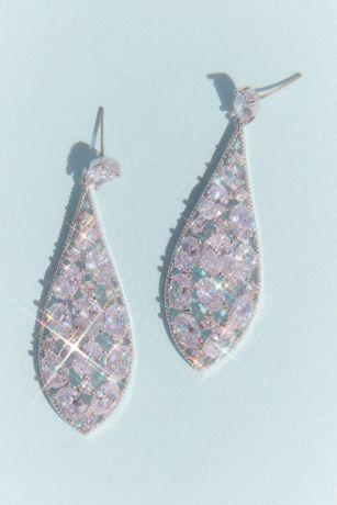Cubic Zirconia Cluster Teardrop Earrings