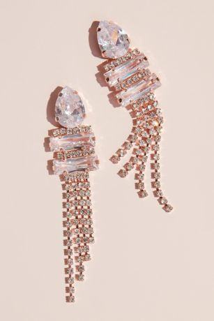 Pear Cubic Zirconia Drop Earrings with Fringe