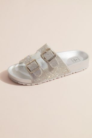 Bamboo Grey Flat Sandals (Two-Strap Crystal Footbed Slide Sandals)