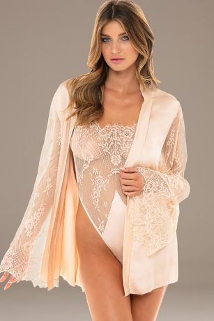 Satin and Lace Robe with Matching Lace Teddy
