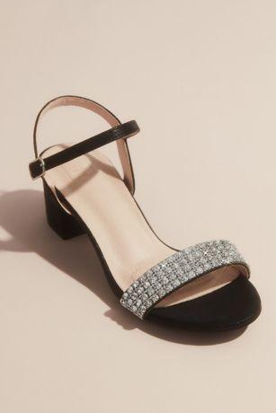 David's Bridal Black;Grey;Pink Heeled Sandals (Crystal Strap Low-Block Heel Comfort Sandals)