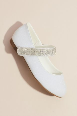 Blossom White Ballet Flats (Girls Round Toe Mary Janes with Crystal Strap)