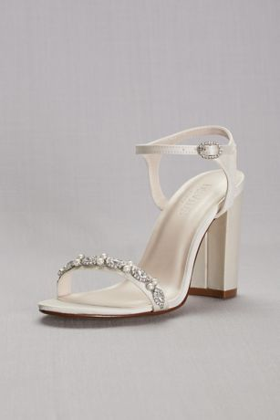 David's Bridal Ivory Heeled Sandals (Embellished Satin Block Heel Sandals)