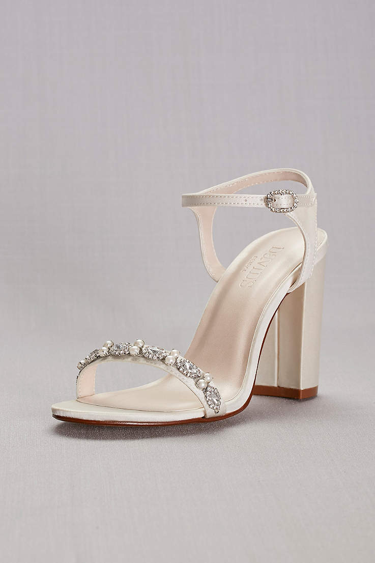 David s Bridal Ivory Heeled Sandals (Embellished Satin Block Heel Sandals) cd71fb19d964