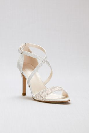 David's Bridal Grey Heeled Sandals (Crisscross Strappy Glitter Heels with Crystal Toe)