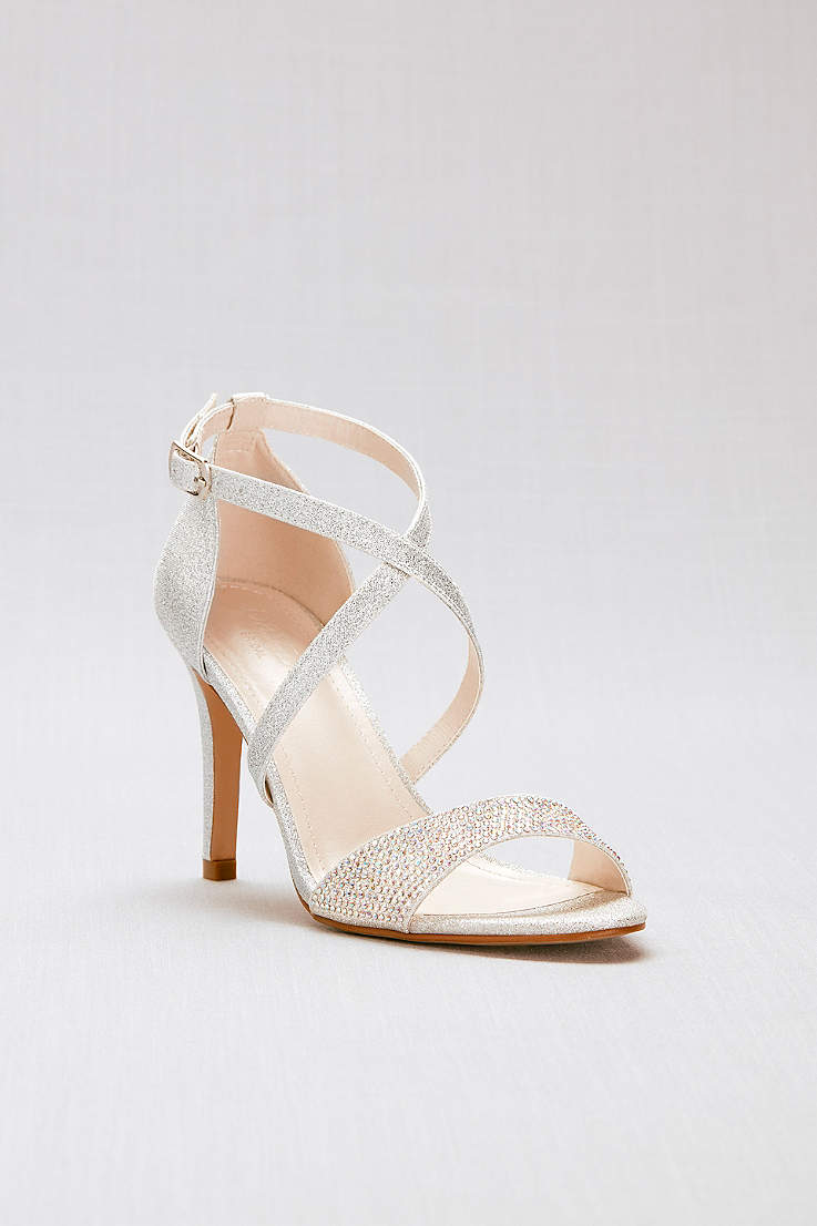 David S Bridal Grey Sandals Crisscross Stry Glitter Heels With Crystal