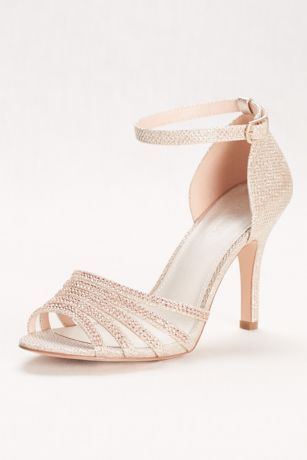 David's Bridal Beige Heeled Sandals (Crystal and Glitter High Heel Sandal)