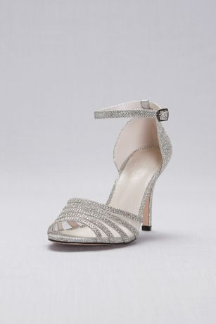 David's Bridal Grey Heeled Sandals (Glitter and Crystal High Heel Sandal)