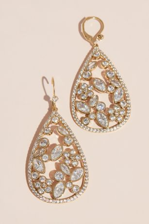 Open Teardrop and Floral Cubic Zirconia Earrings