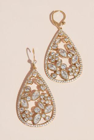 Open Teardrop and Floral Cubic Zirconia Earrings