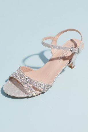 Blossom Grey Heeled Sandals (Allover Crystal Quarter-Strap Low Heels)