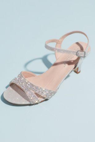 Allover Crystal Quarter-Strap Low Heels