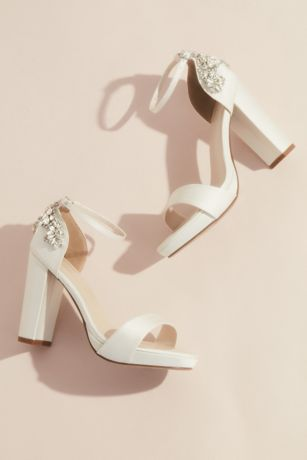 Galina Signature Ivory Heeled Sandals (Crystal Embellished Satin Platform Heels)