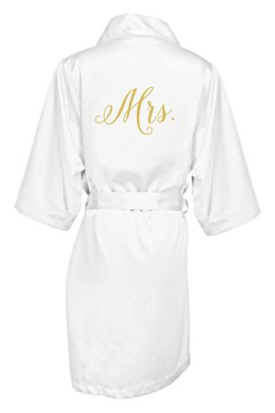 Embroidered Mrs. Satin Robe