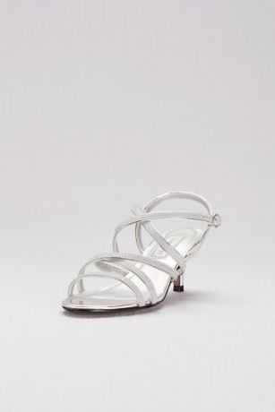 Touch Ups Grey;Pink (Strappy Crisscross Low Metallic Heels)