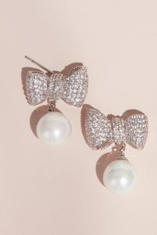 Crystal and Pearl Bow Cubic Zirconia Stud Earrings