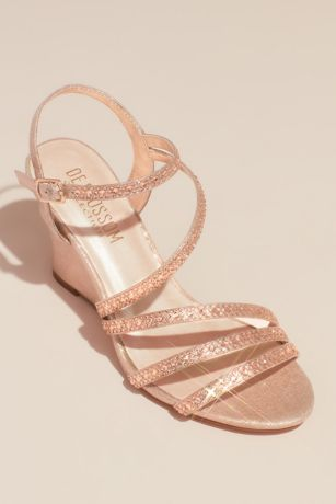 Blossom Grey;Ivory;Pink Wedges (Strappy Low Wedges with Crystal Details)