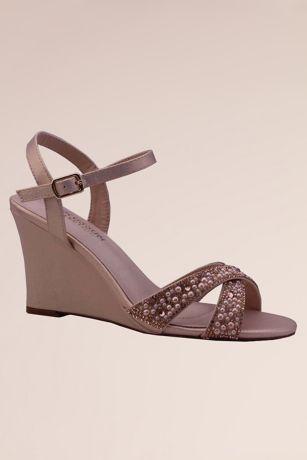 Pink Wedges (Tonal Crystal Crisscross Wedge Sandals)