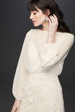 Flowy Chiffon Long  Sleeve Wedding Dress Topper