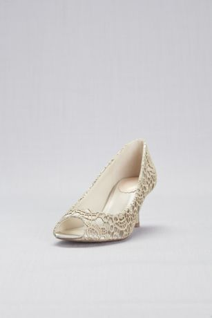 Pink Paradox Beige;Blue Peep Toe Shoes (Guipure Lace and Satin Peep-Toe Pumps)