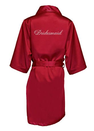 Embroidered Bridesmaid Satin Robe