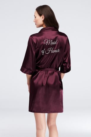 Embroidered Maid of Honor Satin Robe