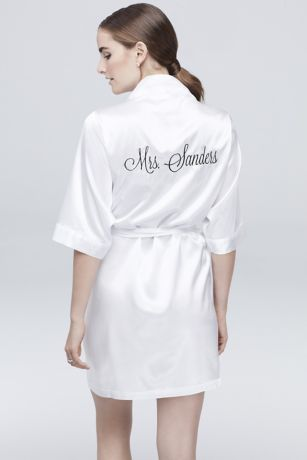 Personalized Embroidered Mrs. Satin Robe