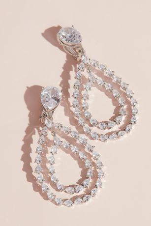 Cubic Zirconia Dangling Teardrop Clip-On Earrings