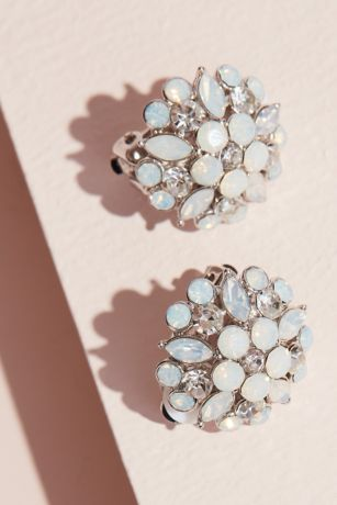 Marquise Floral Burst Stud Clip-On Earrings