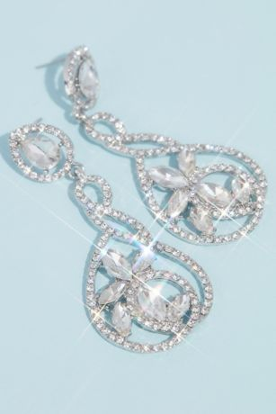 Swirl Pave and Marquise Crystal Drop Earrings