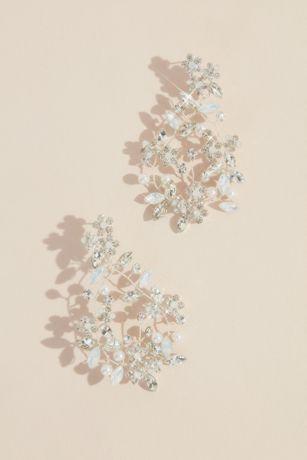 Wired Crystal Flower Wreath Earrings