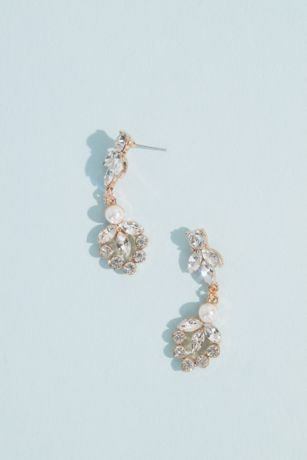 Marquise Crystal Leaf and Pearl Drop Earrings