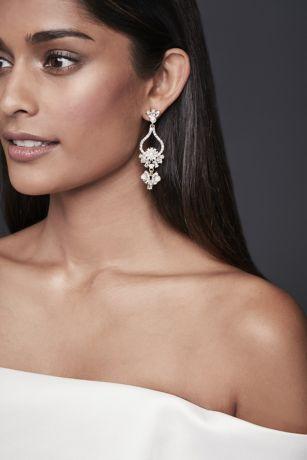 Pearl and Crystal Floral Teardrop Earrings