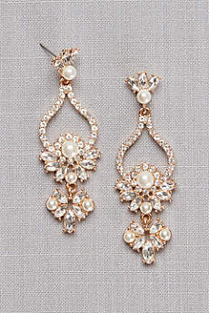 Pearl and Crystal Floral Teardrop Earrings