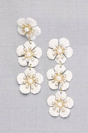 Etched Flower Drop Earrings with Pearl Centers