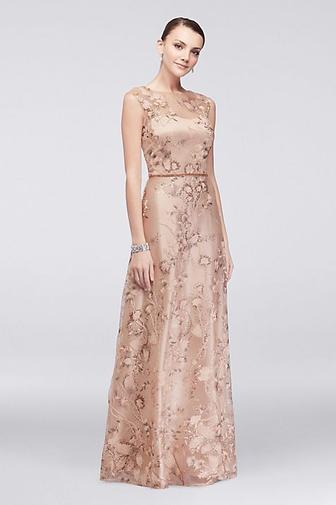 Floral-Embroidered Illusion Ball Gown with Sequins | David\'s Bridal
