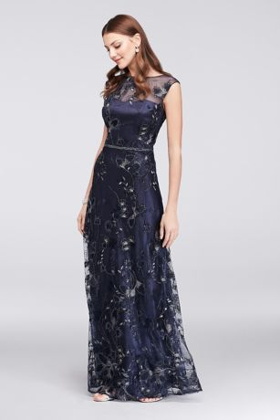Floral-Embroidered Illusion Ball Gown