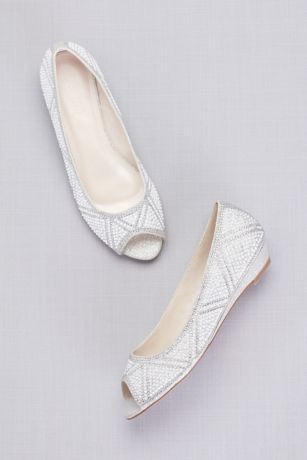 b7578253e213 David s Bridal Grey Wedges (Geometric Pearl Peep-Toe Flats)