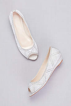 David's Bridal Grey Peep Toe Shoes (Geometric Pearl Peep-Toe Flats)