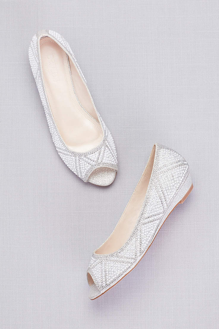 ee5b27fc52 David's Bridal Grey Wedges (Geometric Pearl Peep-Toe Flats)