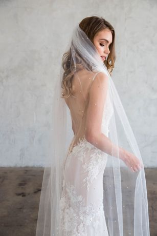 Raw-Edge Silk Tulle Chapel Veil with Crystals