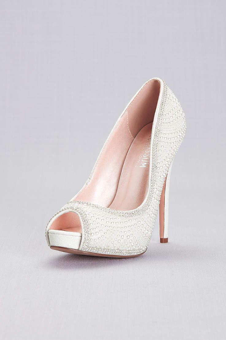 5659077d3 Blossom White Pumps (Crystal Encrusted Peep-Toe Platform Heels)
