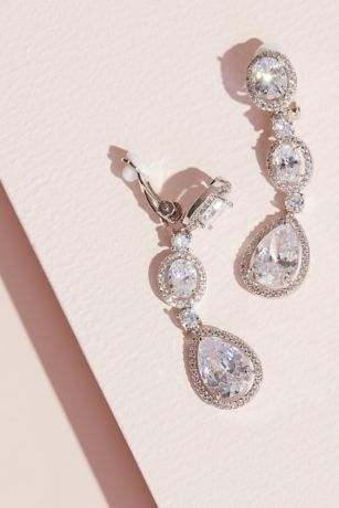 Haloed Cubic Zirconia Drop Clip-On Earrings