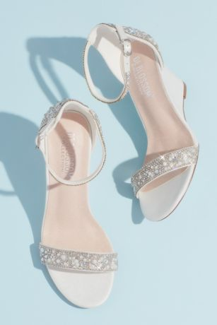 Blossom White Heeled Sandals (Crystal and Jewel Embellished Wedge Sandals)