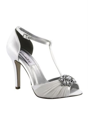 Dyeables White (Dyeable Silk Chiffon T-Strap Heels with Crystals)