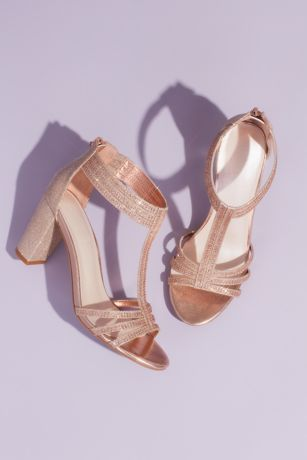 Grey;Pink Heeled Sandals (Glitter T-Strap Block Heel Sandals with Crystals)
