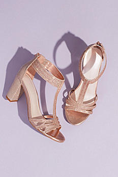Glitter T-Strap Block Heel Sandals with Crystals EVERLY