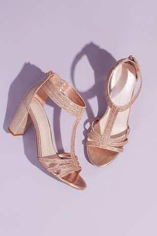 89456dbc2 David's Bridal Pink Heeled Sandals (Glitter T-Strap Block Heel Sandals with  Crystals)