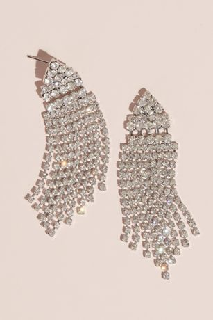 Cubic Zirconia Drop Earrings with Cascade Fringe